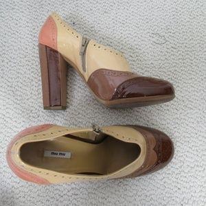 Miu Miu Shoes Heels Womens Size 39 Brown Patent